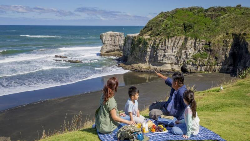 family of 4 having a picnic on a grass cliff overlooking black beach