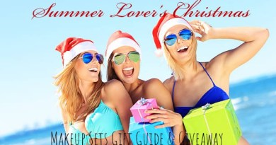 makeup sets for summer lovers christmas gift guide group of women on beach with santa hats and presents