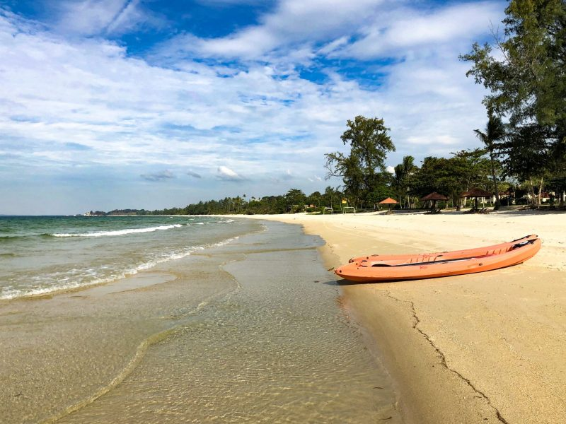 orange kayak on private beach at Bintan lagoon