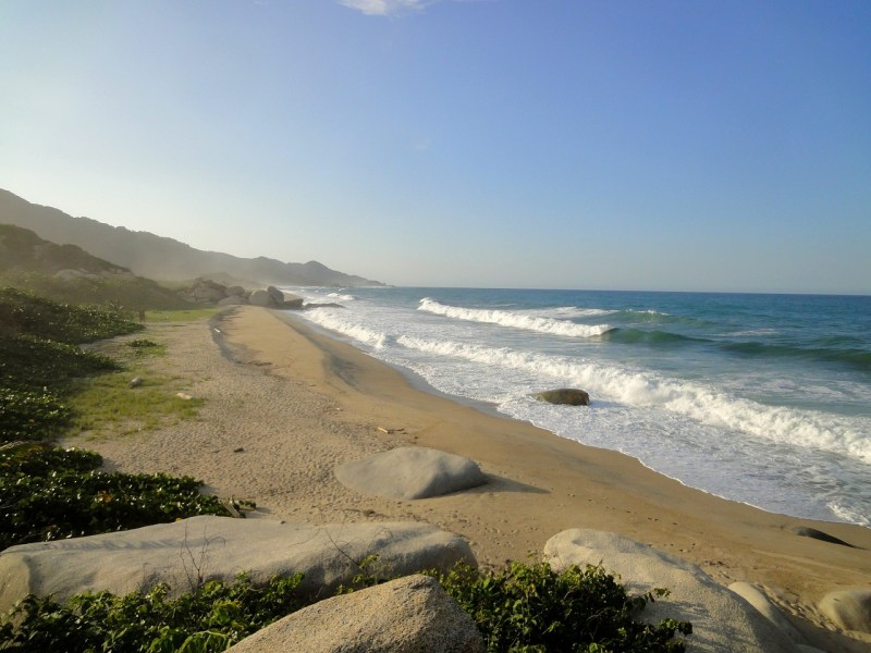 deserted playa brava beach with golden sand and waves crashing in tayrona national park colombia