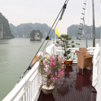 Half of the boat, wooden deck, flowers and trees in pots, deck is wet as it has just rained, the water of the bay to the left, limestone mountains as well
