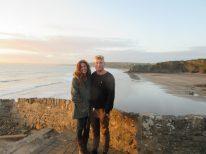 Couple shot, ocean behind