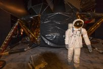 Inside the museum, an astronaut in gear