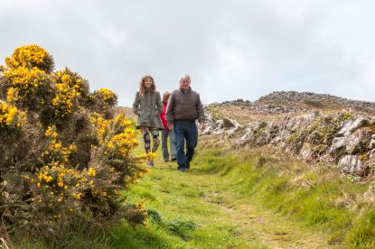 Walking down a green grassy footpath, yellow gorse flowers to one side and rocks to the other.