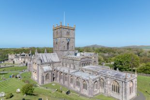 St Davids Cathedral from the top of the hill