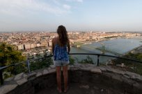 Tegan looking out over the city