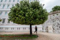Tegan doing the yoga tree pose under a large tree with bushy vibrant leaves