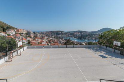 Concrete basketball court