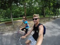 Cycling selfie on our retro looking bicycles in the park