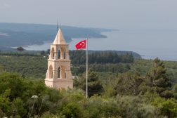 Turkish memorial, sea in the background and lots of greenery