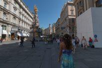 Tegan walking the city centre streets