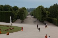 Tree lined massive walkways through the palace