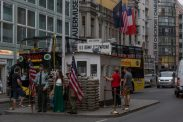 Check point charlie, people getting their passports stamped