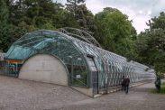 A huge glass green house