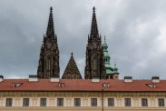 St Vitus cathedral poking up behind the buildings