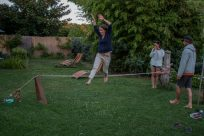 Mid air coming off the slackline