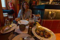 Tegan happy to be eating tapas!