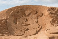 Minnie and Mickey mouse sand sculptures
