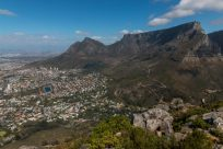 View looking over cape town, table mountain framing it