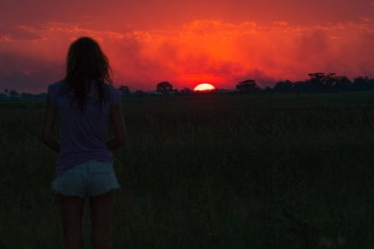 Incredible sunset in the delta, sun melting over the horizon, sky glowing orange and pink, tegan silhouette on the side