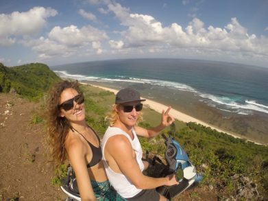 scooter selfie on the cliffs of uluwatu