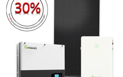 4.6 kWp hybrid solcelleanlæg med lithium batterilager