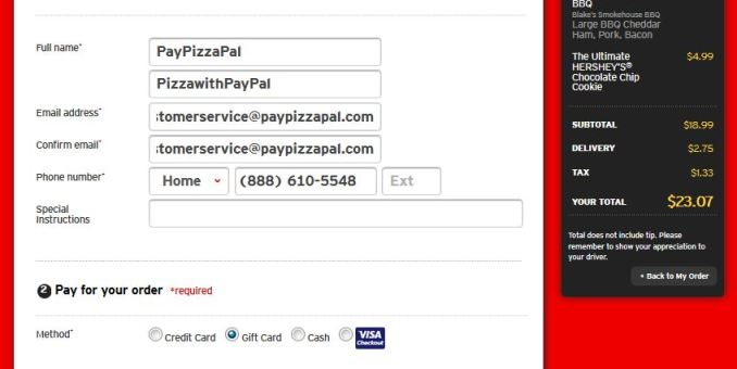 pizza hut paypal payment