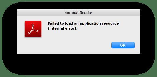 Adobe Acrobat Failed to Load