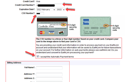 Billing Address on a Credit Card