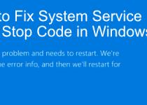 System Service Exception Error in Windows
