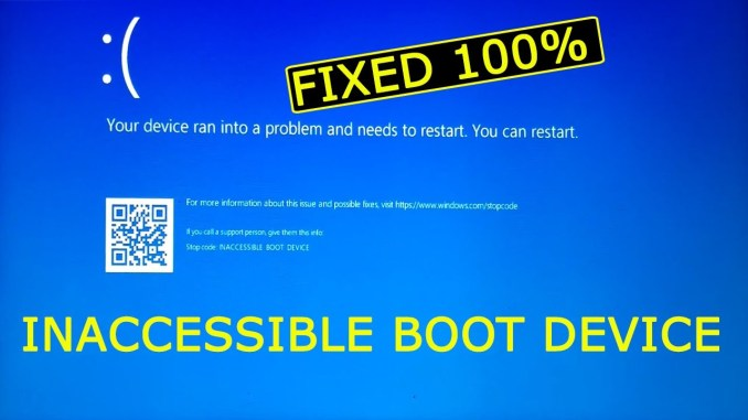 Inaccessible Boot Device Error Code