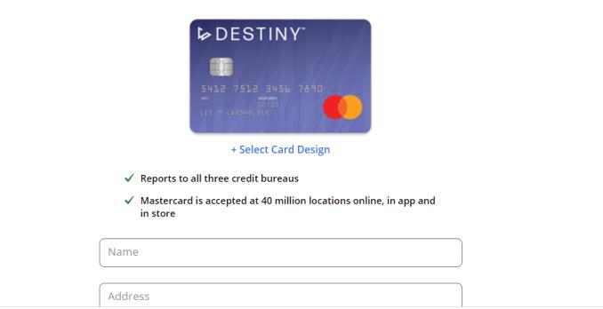 Destiny Credit Card Login