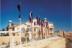 Rich Maroon Colored Vertical Flags