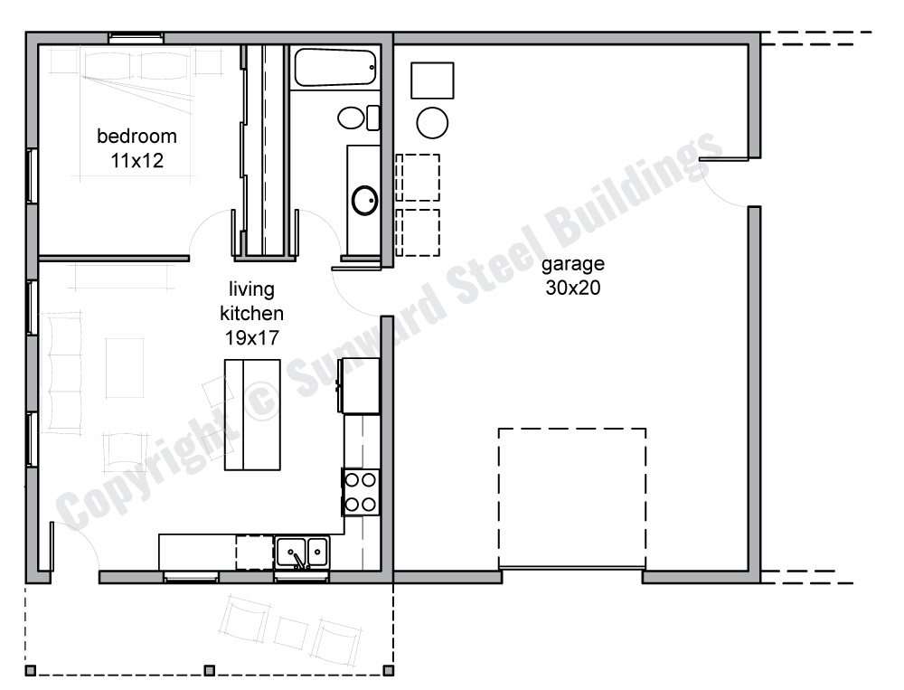 1, 2 Or 3 Bedroom Barn Home Plans