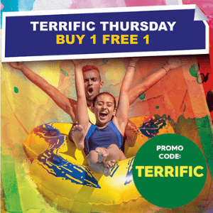 Enjoy the Buy 1 FREE 1 promotion at Sunway Lagoon