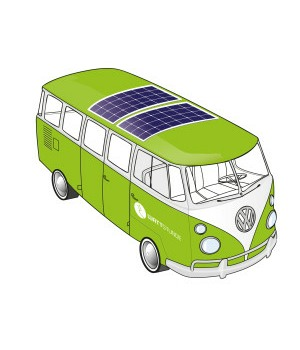 Campervan with flexible panels