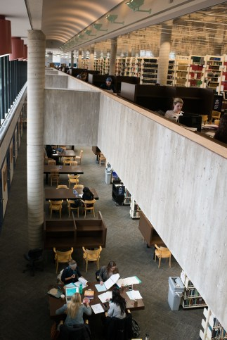 Feinberg Library has a large number of study spaces, from open-air to private carrel.