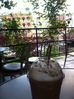 When the weather is nice, Alyssa enjoys relaxing at the Koffee Kat, a Plattsburgh coffee staple, which is downtown. Their balcony boasts free wifi and a shady view.