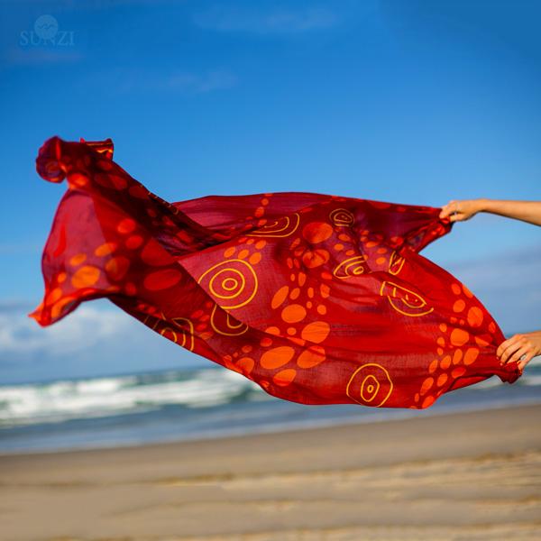 Sunzi Star Dreaming Red Sarong