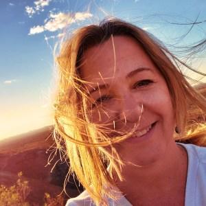 Elissa at sunset over desert