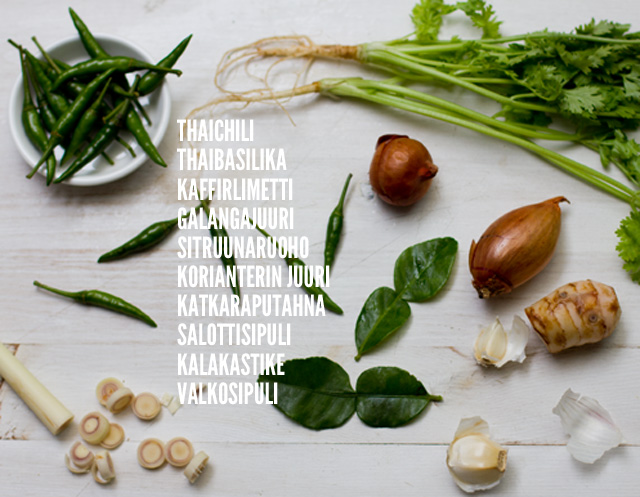 vihreä-curry-raaka-aineet