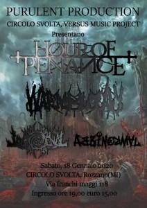 """HOUR OF PENANCE: a gennaio al Circolo Svolta di Rozzano """"Misotheism release show"""""""