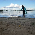 SUP Blogger with her Hardboard paddling on River Havel in Berlin