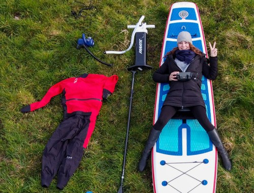 Stand up Paddler on an iSUP; SUP Pumps