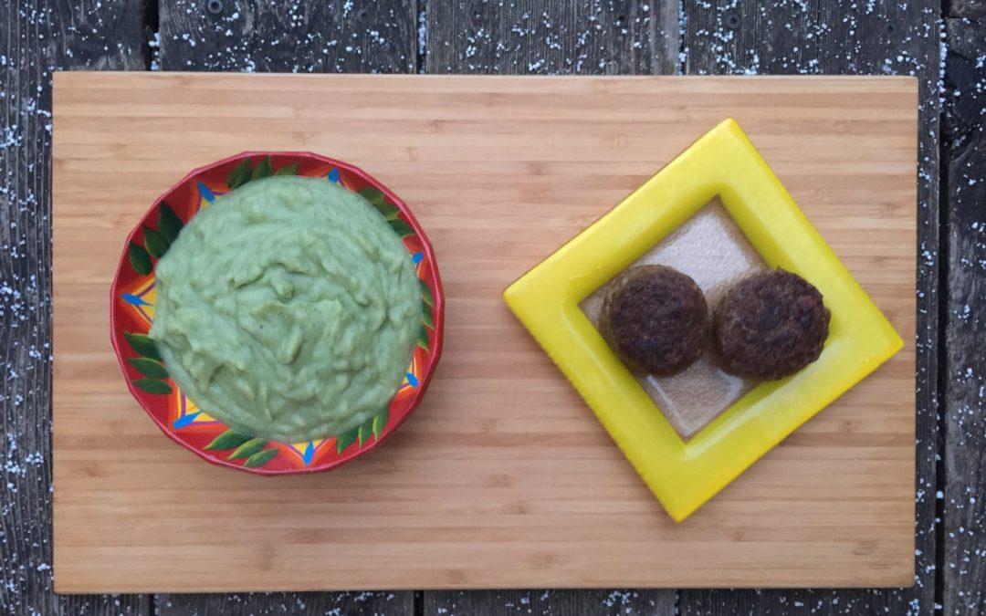 Purée de brocolis, épinards et persil & ses steaks végés