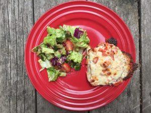 Assiette croque-monsieur & salade pour super boîte à lunch