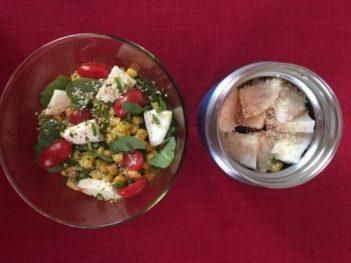 Salade d'épinards et mozzarella pour Super Boîte à Lunch