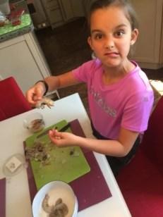 Louison décortique les crevettes pour Super Boîte à Lunch