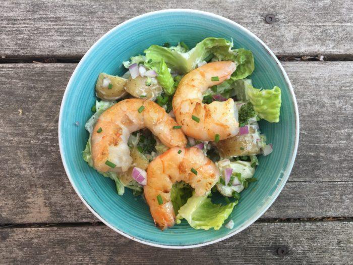 Salade pommes de terre et crevettes pour Super Boîte à Lunch