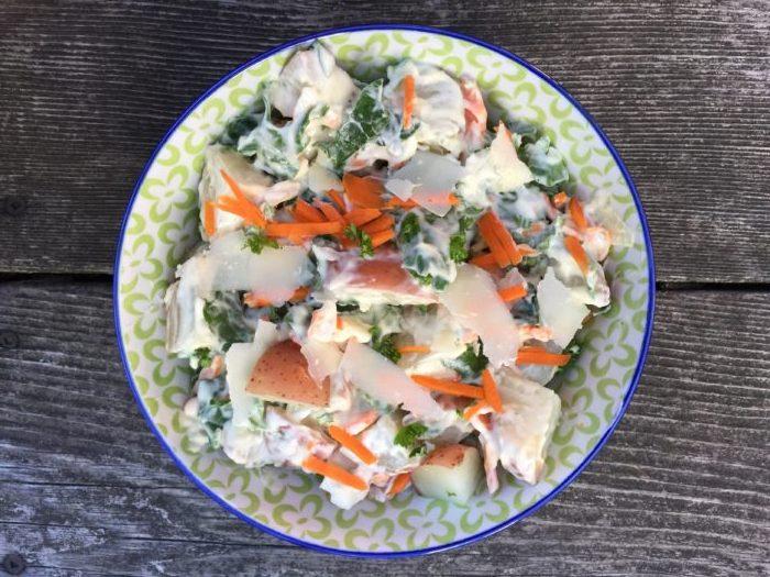 Salade de pommes de terre et baby Kale de Super Boîte à Lunch